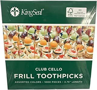"KingSeal FSC認定Sustainably Sourced Natural BirchクラブFrillサンドイッチToothpicks、ピック、アソートカラー、4""長–10パックあたりの1000のケース 4 Inches 77120F/B 2"