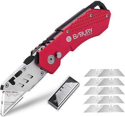 Bibury Universalmesser, Portabel Teppichmesser, Aktualisierte Version Universal-Klappmesser, Cuttermesser mit 10 zusätzlichen SK5 Edelstahlklingen mit Gürtelclip und Safety-Lock-Design - rot