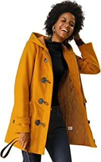 Allegra K Women's Casual Winter Outwear Hooded Button Toggle Coat