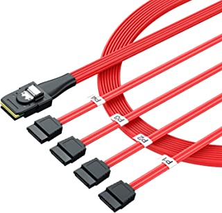 LiNKFOR 2 Pcs 1.6ft Mini SAS to 4 SATA Cable SAS Breakout Cable Mini SAS Male SFF-8087 to 4 SATA Female Cable Multi-Lane Mini SAS Host Internal Cable to Target HDD Hard Drive Splitter Cable