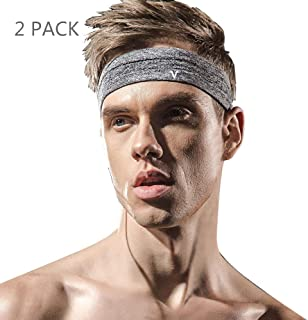 Veadoorn 2 Pack Headband Moisture-Wicking Elastic Men Women Breathable Sports Sweatband for Fitness Basketball Football Working Out, Running, Yoga, Crossfit- High Stretch