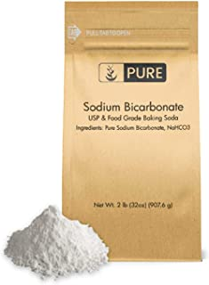 Sodium Bicarbonate (Baking Soda) (2 lb.) by Pure Organic Ingredients, Eco-Friendly Packaging, Highest Purity, Food & USP Grade