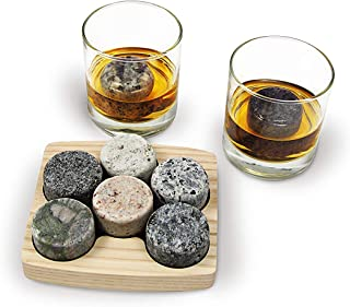 Sea Stones- 9-Piece Set - Full Sized Upcycled Granite Whiskey Chilling Stones- On the Rocks Set Includes 2 Monogrammable Tumblers with Wooden Presentation Tray - Made in the USA with Granite from NH