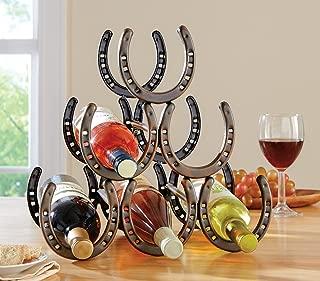 Western Horseshoe Wine Bottle Holder Table Top Rack Decor