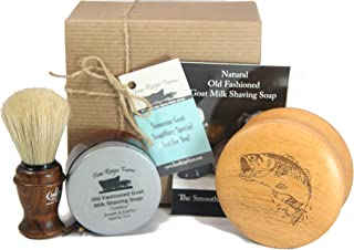 Shaving Gift Set for Men, Includes Italian Shaving Brush (Ash Wood Handle), Goat Milk Shaving Soap (Cowboy Scent) and Engraved Hardwood Shaving Bowl (Bass Fish)