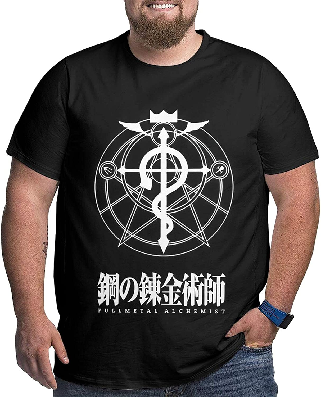 Fullmetal Alchemist Male Shirt Casual Short Sleeve Plus Size Cotton Tee