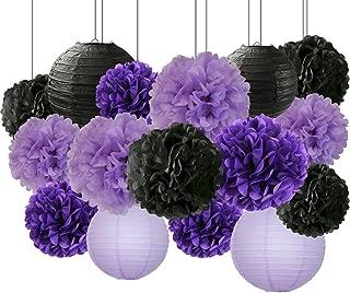 Bridal Shower Decorations Halloween Decorations 16 pcs Black Lavender Purple 10inch 8inch Tissue Paper Pom Pom Black Purple Party Decorations