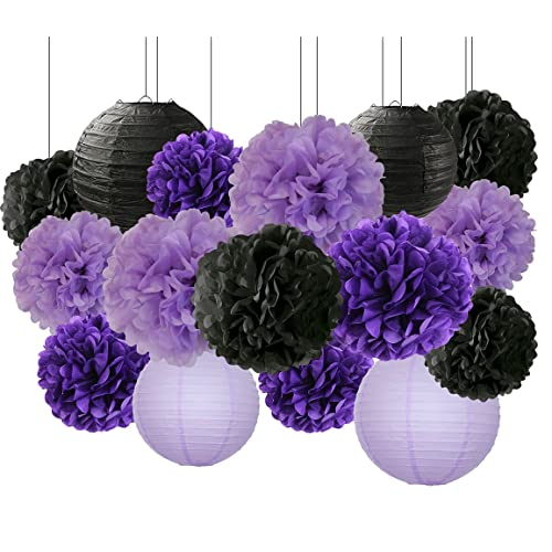Bridal Shower Decorations Halloween 16 Pcs Black Lavender Purple 10inch 8inch Tissue Paper Pom
