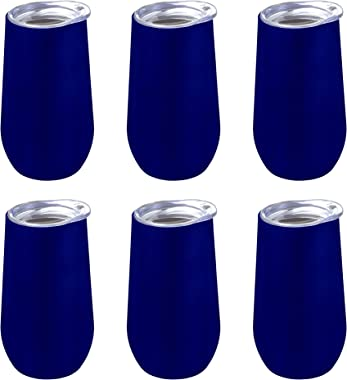 9 oz. Stemless Flute Wine Glasses with Lids - 6 pack - Champagne Tumblers - Blue