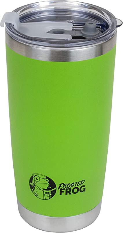 Frosted Frog 20oz Green Tumbler Vacuum Insulated Tumbler With Stainless Straw And Handle