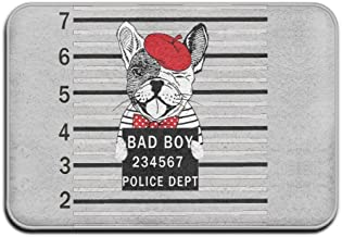 Soft Non-slip French Bulldog With Red Hat Bath Mat Coral Rug Door Mat Entrance Rug Floor Mats For Front Outside Doors Entr...