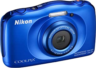 Nikon COOLPIX S33 13.2MP Waterproof Digital Camera - Blue (Renewed)