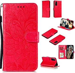 FlipBird Red ケース for Huawei Honor Play 4T Pro, カードSoltsホルダー付きレザーケース、ストラップ付きフラワーエンボスレザーフリップウォレットケース for Huawei Honor Play 4...