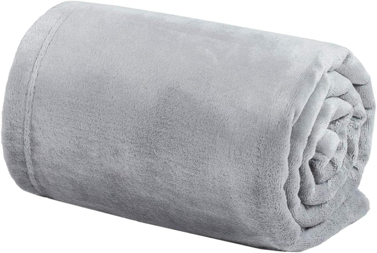 Bedsure Fleece Baby Blankets Swaddle Blanket Unisex for Boys, Girls, Kids, Toddler, Infant, Newborn, 30x40 inches, Light Grey - Fuzzy Warm Cozy Soft Plush Microfiber Blanket for Crib Stroller Nap