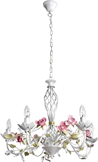 Lámpara de araña colgante de cristal transparente, estilo clásico chic, metal, diámetro de 60 cm, 5 bombillas E14 de 40 W, 230 V
