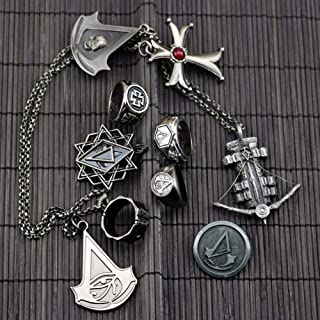 PIN 10Pcs Assassin's Creed Origin Black Flag Ring Revolution Necklace Knight Shard, Assassin's Creed Keychain, Alloy and Jewelry