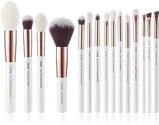 Jessup Brand 15Pcs Pearl White/Rose Gold Professional Makeup Brushes Set Make up Brush Tools kit Foundation Powder Definer...