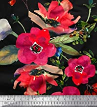 Soimoi Black Viscose Chiffon Fabric Leaves & Poppy Flower Print Sewing Fabric BTY 42 Inch Wide