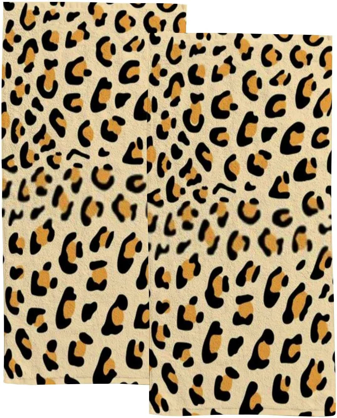 2-Piece Polyester Towel security Set Absorbent Leopard Bath Oakland Mall Hand T