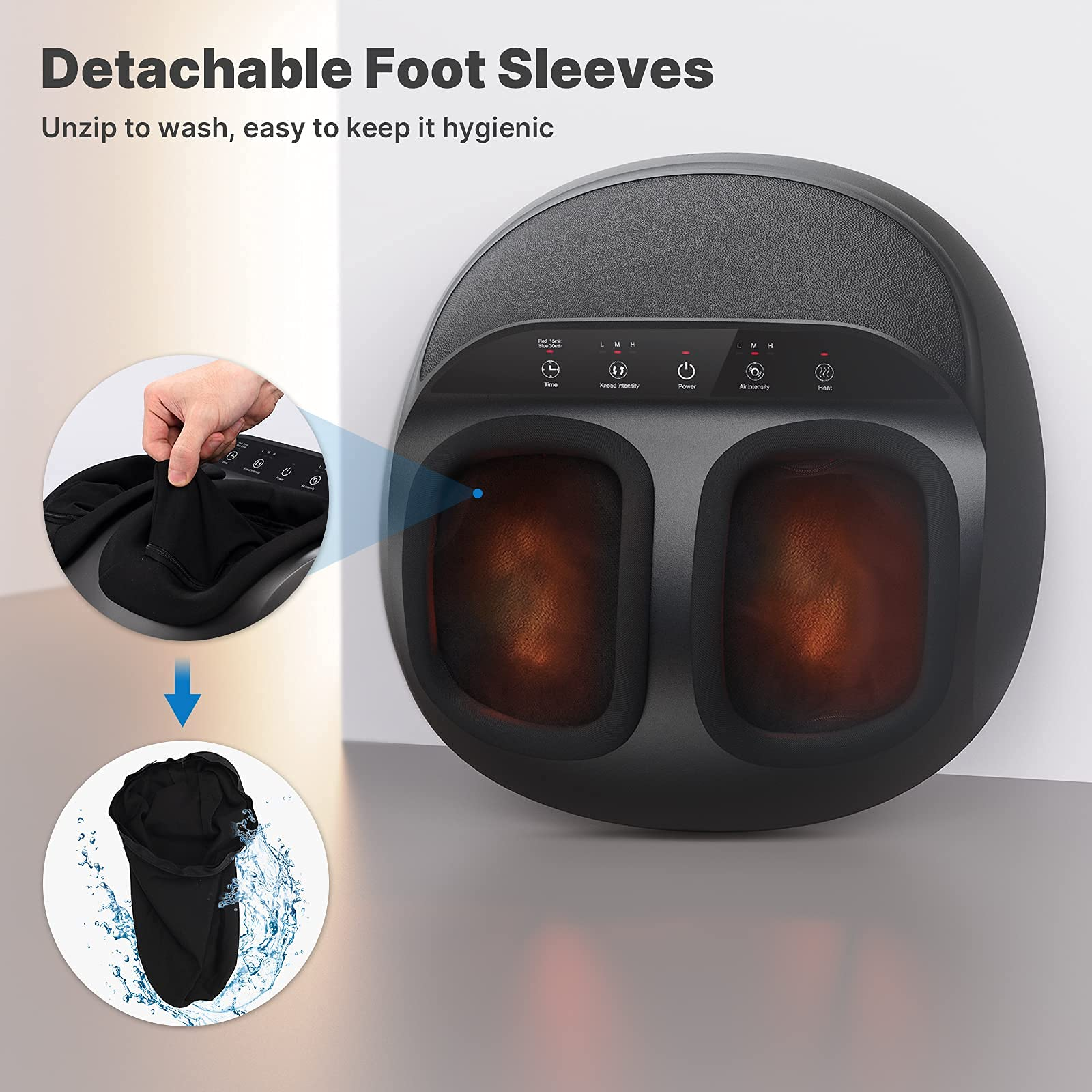RENPHO Shiatsu Foot Massager Machine with Heat, Deep Kneading Therapy, Compression, Relieve Foot Pain from Plantar Fasciitis, Improve Circulation, Fits feet up to Men Size 12 Panel Control