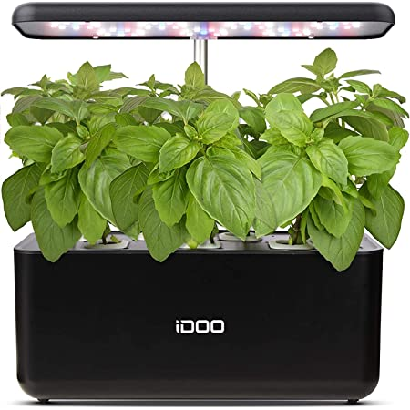 iDOO Hydroponics Growing System, 7Pods Mini Herb Garden with Pump System, Germination Kit with LED Light, Automatic Timer, Height Adjustable (No Seed)