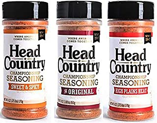 Head Country Championship Seasoning, Original 6 ounce, Sweet & Spicy 5.12 ounce, High Plains Heat 5.12 ounce, (Variety Pack of 3 Bundle)