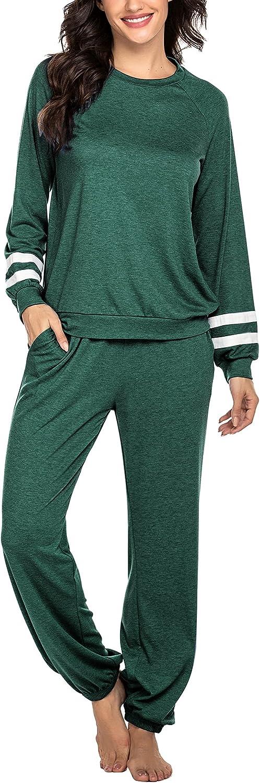 Ekouaer Womens Cozy Max 63% OFF Pajamas Long Sle Max 77% OFF Sleeve Two-Piece Loungewear