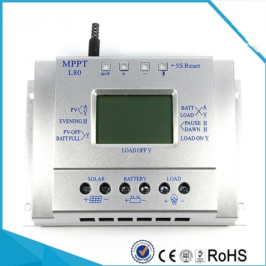 唯一不毛アブストラクトRaiFu ソーラー チャージャー  80A 12V 24V MPPT ソーラー 充電 コントローラ LCD ディスプレイ ソーラー レギュレータ シルバー
