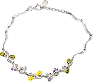 Green And Purple Cubic Zirconia 3.00 Ct Pear 925 Sterling Silver Link Bracelet Mother's Day Presents By Orchid Jewelry