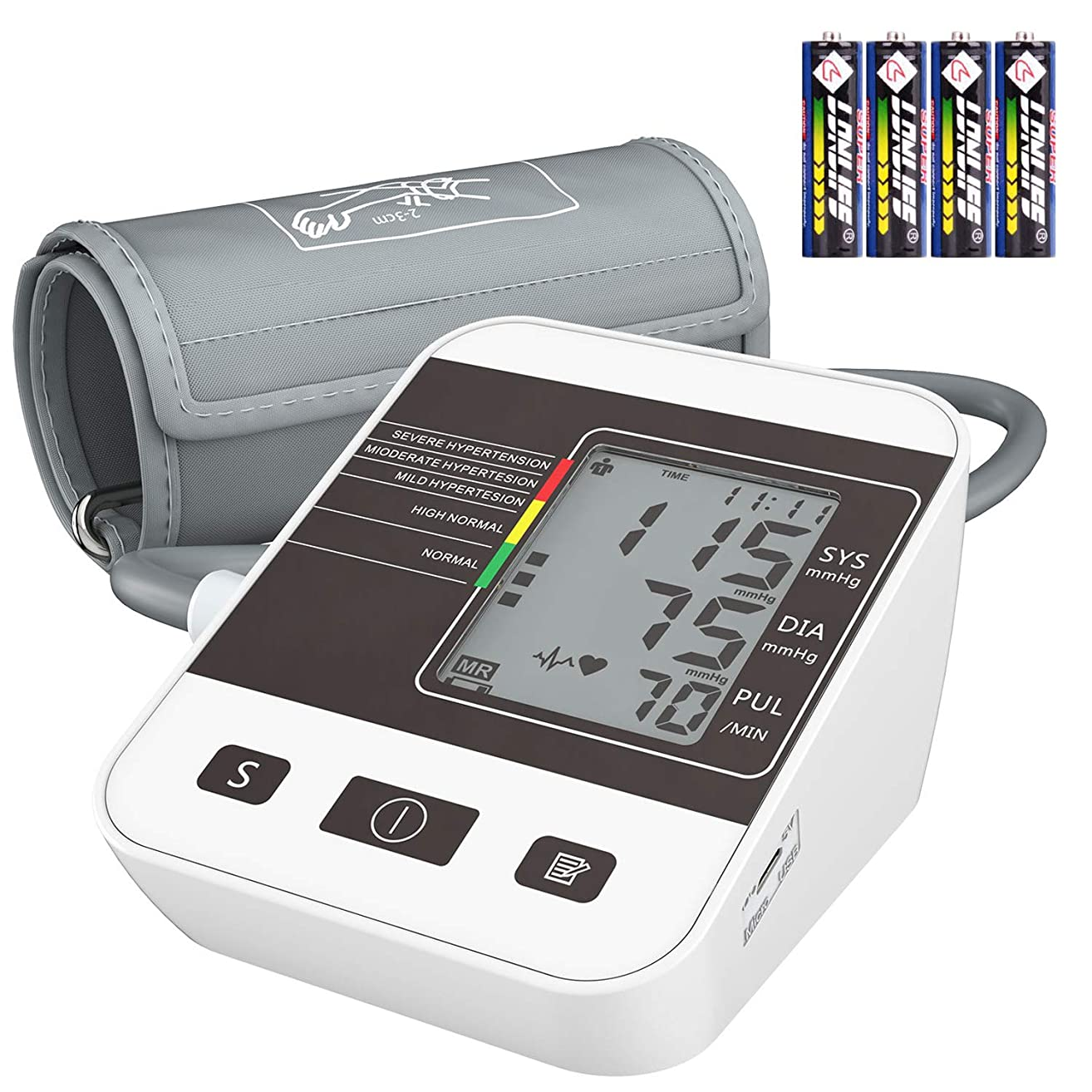 Blood Pressure Monitor for Home Use with Large LCD Display,Annsky Digital Upper Arm Automatic Measure Blood Pressure and Heart Rate Pulse,2 Sets of User Memories
