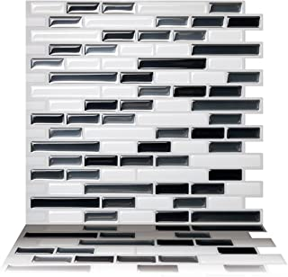 Tic Tac Tiles 10-Sheet Peel and Stick Self Adhesive Removable Stick On Kitchen Backsplash Bathroom 3D Wall Sticker Wallpaper Tiles in Como Gray