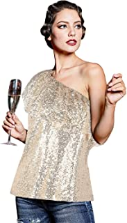 PrettyGuide Women's One Shoulder Sequin Tops Ruffle Sexy Sparkle Blouse Club Party Top