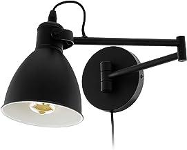 EGLO San Peri Wandlamp, 1 vlammige vintage wandlamp voor binnen, van metaal, woonkamerlamp in zwart, lamp met schakelaar, ...