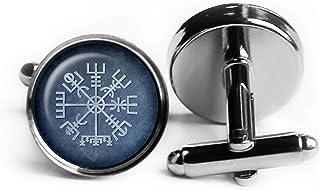 Viking Runes Vegvisir Viking Compass Wikinger Runen Kompass Rhodium Silber Manschettenknöpfe