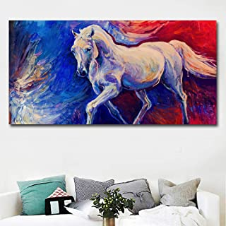 YYJHMK Abstract Horse Art Painting Wall Art Pictures Animal Painting Blue And Red Canvas Print Home Decor No Frame