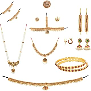 Fashionatelier Women's Bharatanatyam Full Set (10 Items) Multi-Colour