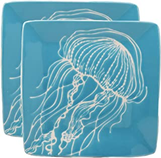 Ebros Nautical Coastal Ocean Sea Marine Jellyfish Abstract Art Soothing Blue Salad Or Appetizer Or Dessert Plate Set of 2 Square 8.5