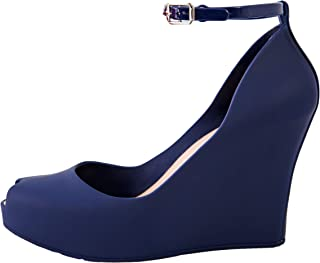 Jelly Wedge Platform Sandals Women High Heels Open Toe Leg Ankle Strap Espadrilles Pumps Cushioned Ladies Strappy Buckle Slide Chunky Shoes Girls Sexy Fashion Summer Comfort (9, Navy Blue)