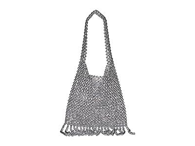 Loeffler Randall Cher Beaded Shoulder Bag with Fringe (Silver) Handbags