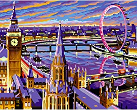 5D DIY Diamond Painting by Number Kit for Adult, Full Drill Diamond Embroidery Dotz Kit Home Wall Decor Urban Local Architecture Landscape (London, 30 x 40 cm)