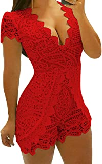 JOKHOO Women's Casual Lace V Neck High Waist Sexy Club Bodycon Short Pant Romper Jumpsuit (Red, L)