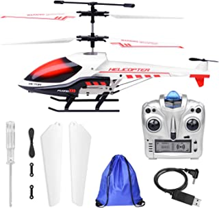 Outdoor Remote Control Helicopter for Kids Age 8 RC Helicopter with Gyro Storage Bag … (White)