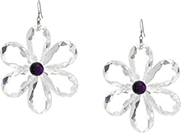 "3"" Clear Petals with Amethyst Center Flower Earrings with Silver Fishhook Top"