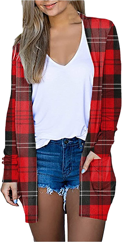 Misaky Womens Oversized Cardigan Plaid Print V-neck Cardigan Long Sleeve Coat Pockets Outerwear