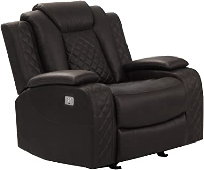 Benjara Leatherette Power Recliner Chair with Stitching Details, Brown