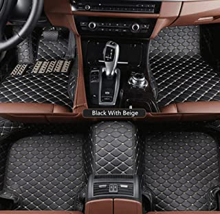 SLONG for BMW 3series 05-12 Custom Car Floor Mat Fully Surrounded Crew Cab Armor Interior Accessories All Weather Auto Carpet Anti-Slip Waterproof Flooring Only Fit Left Drive Black with Beige