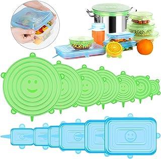 comprar comparacion UOON Tapas elásticas de silicona, paquete de 13 Ajuste rectangular y redondo Varias formas de recipientes, platos, tazon...
