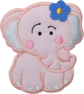 Childrens Pink Elephant Iron on Embroidered Applique Patch