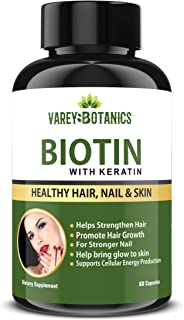 VAREY BOTANICS Biotin with Keratin Collagen Supplement for Brighter Skin and Stronger Nails – For Men and Women – 60 Capsules