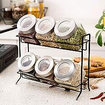 6X Lead-Free Glass Sealed Storage Tank/Spice Jar (Capacity: 450ml * 6), with Shelf for Kitchen, Storage